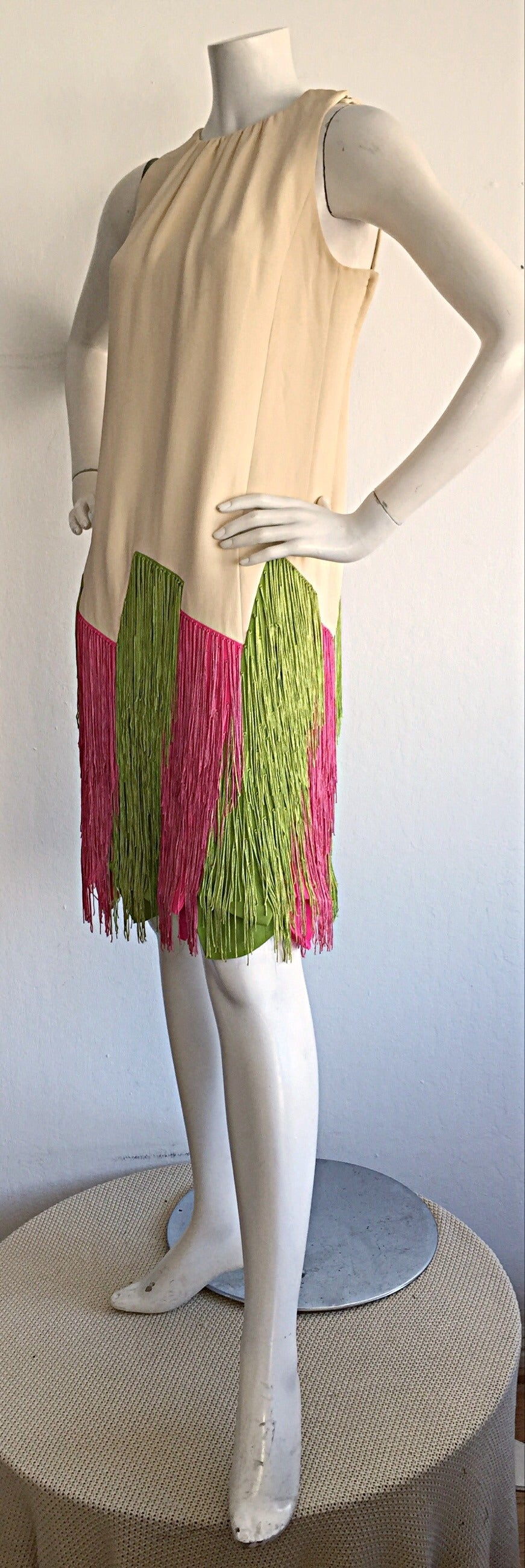 Ultra Rare Jean Louis 1960s 60s Fringe Car Wash Dress In Excellent Condition For Sale In San Francisco, CA