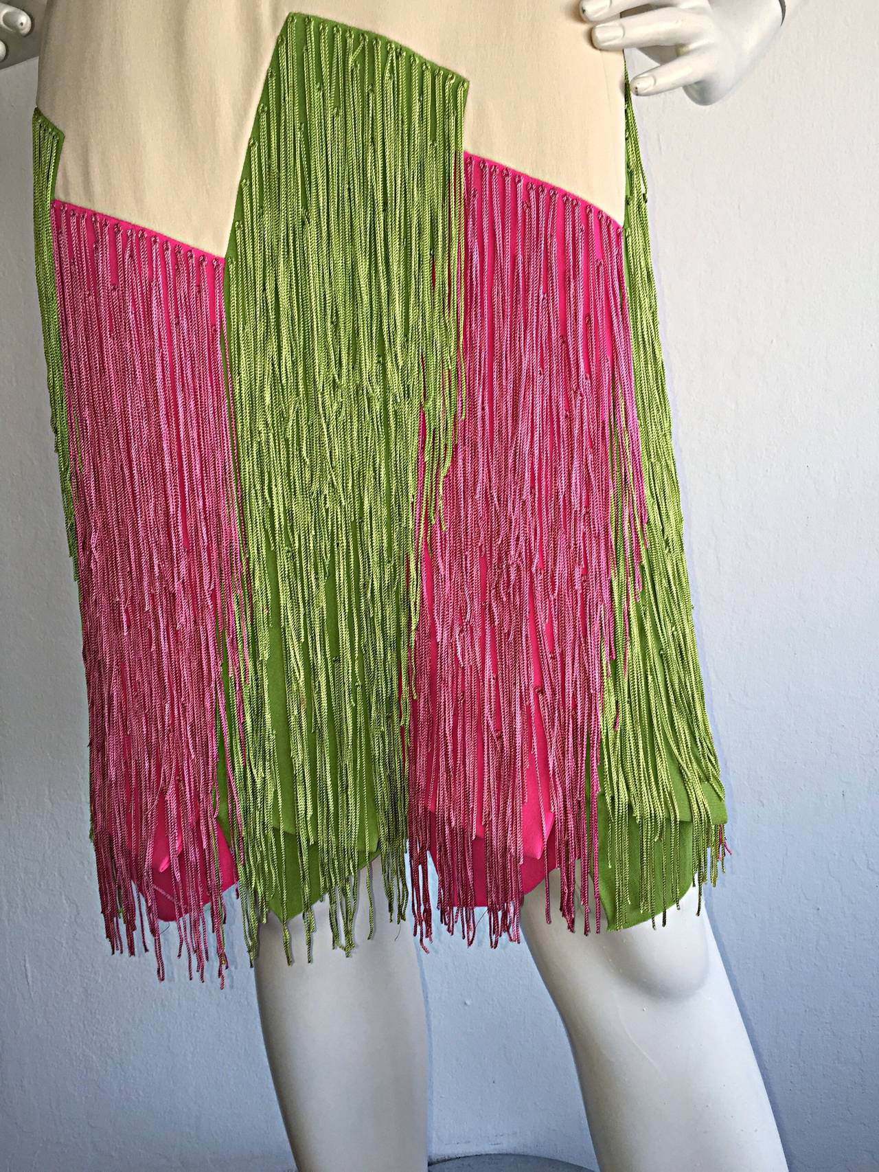 Beige Ultra Rare Jean Louis 1960s 60s Fringe Car Wash Dress For Sale