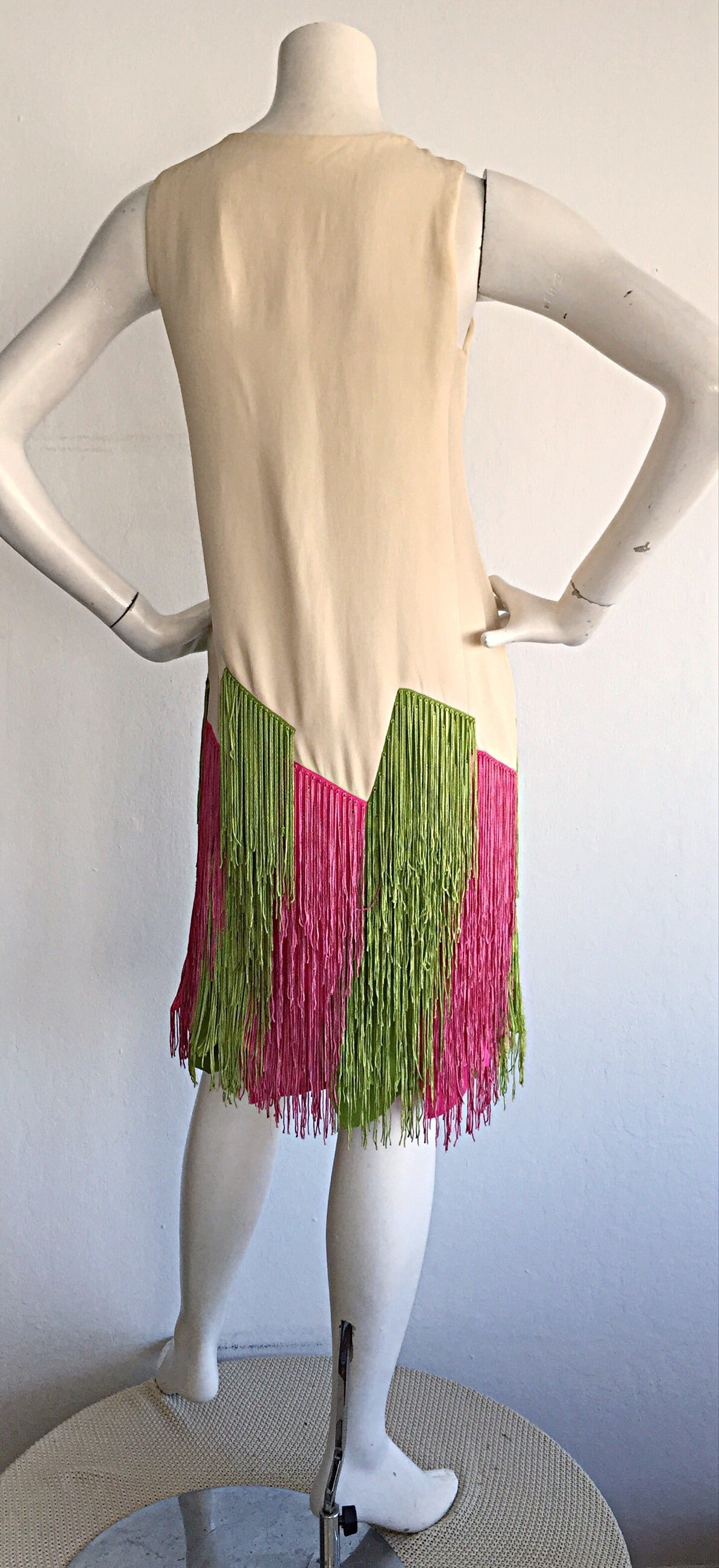 Women's Ultra Rare Jean Louis 1960s 60s Fringe Car Wash Dress For Sale