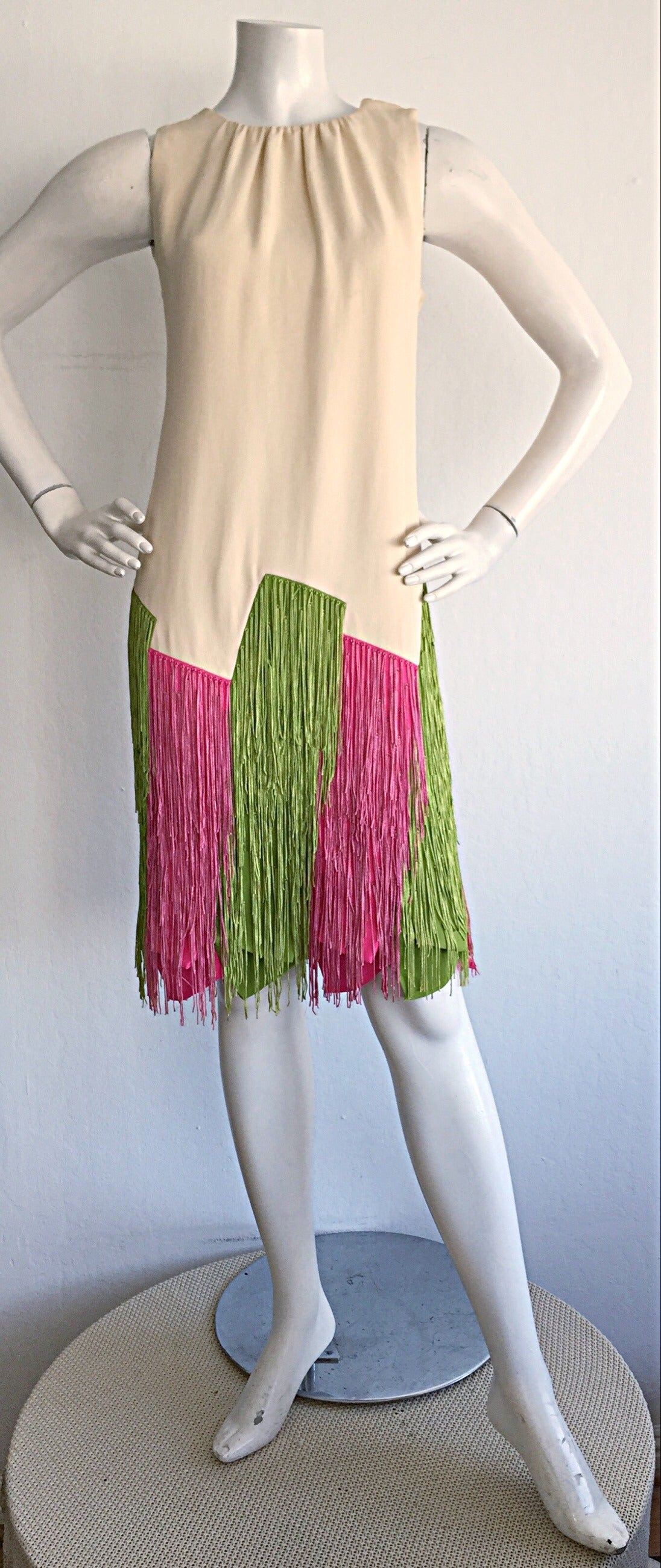Ultra Rare Jean Louis 1960s 60s Fringe Car Wash Dress For Sale 1