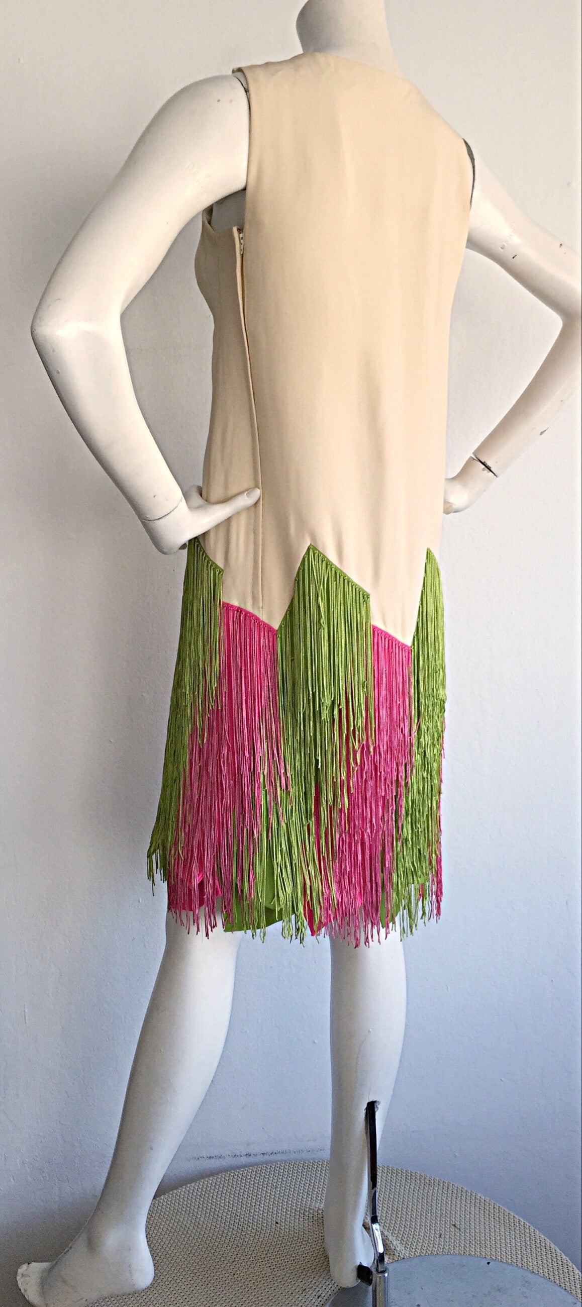 Ultra Rare Jean Louis 1960s 60s Fringe Car Wash Dress For Sale 2