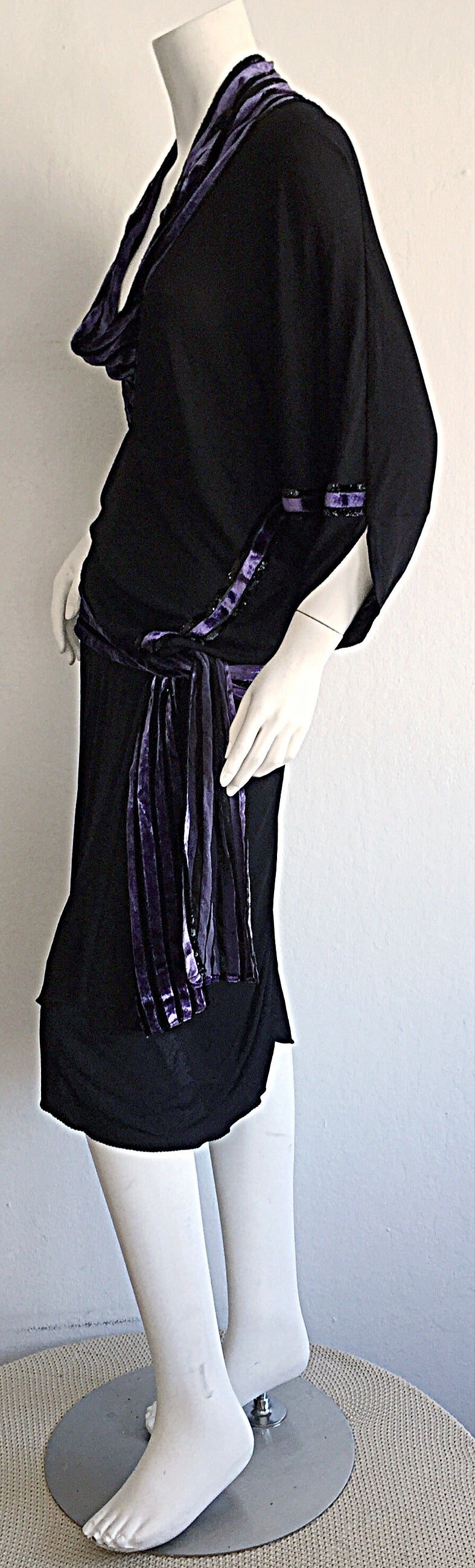 "Iconic Vintage Janice Wainwright Black Flapper Style "" Roaring 20s"" Jersey Dress 8"