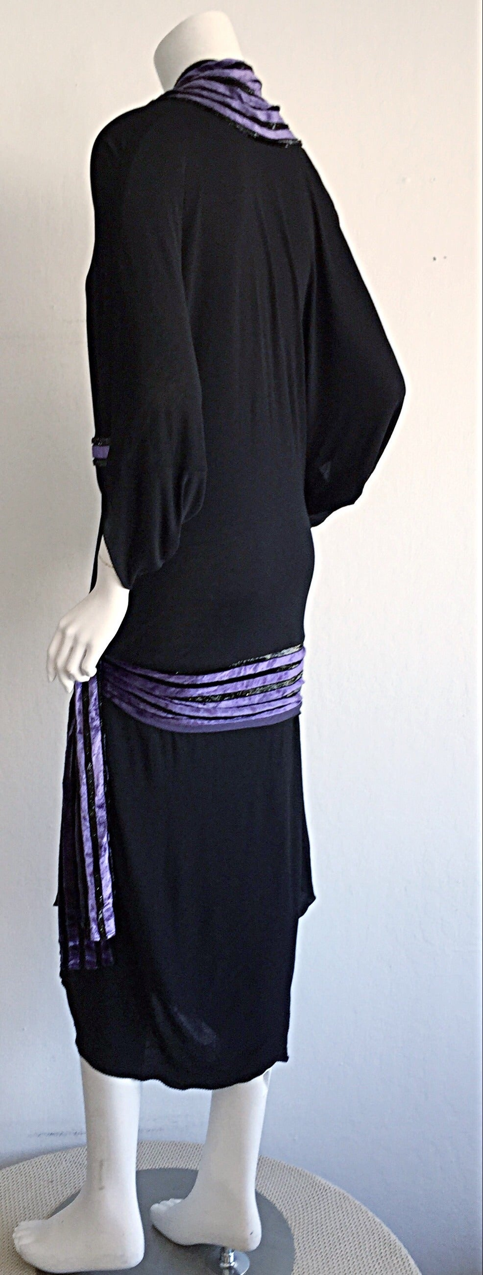 """Iconic Vintage Janice Wainwright Black Flapper Style """" Roaring 20s"""" Jersey Dress For Sale 5"""
