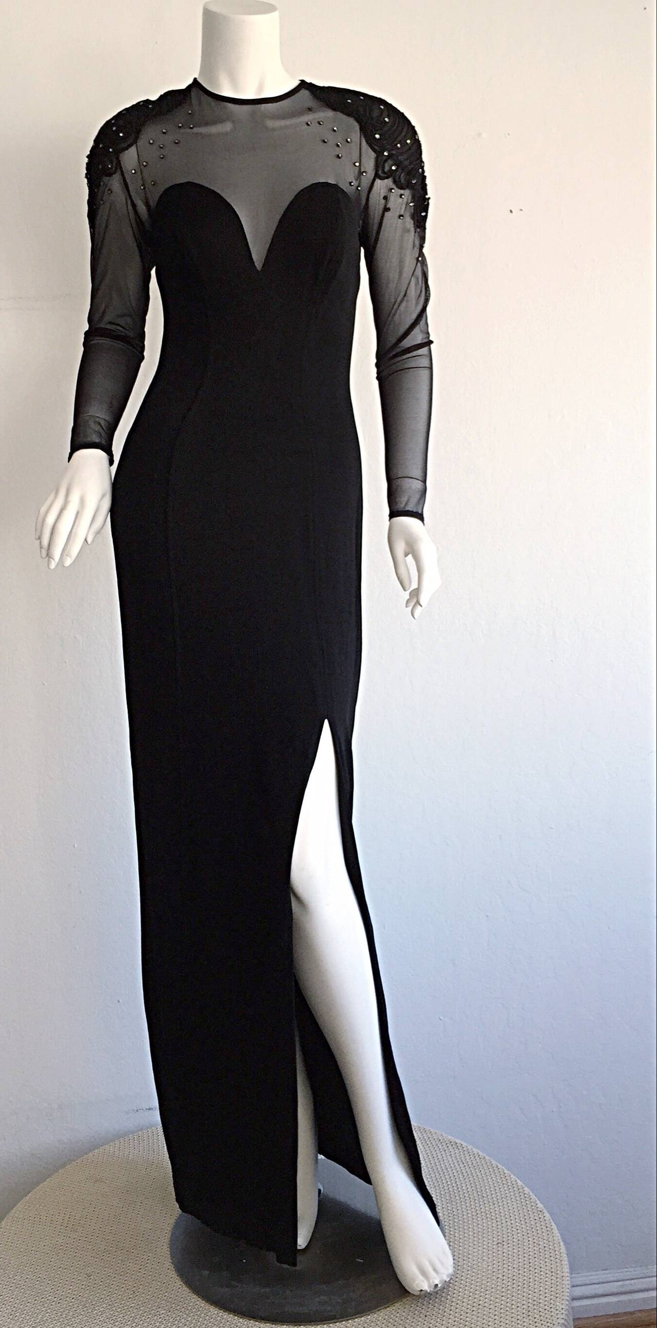 Now this is a sexy dress! 1990s Tadashi Sohji bodycon gown! Features nylon mesh at bust and back. Perfect sweetheart effect, that displays just the right amount of cleavage. Intricate woven detail at shoulders, encrusted with rhinestones. Sext slit