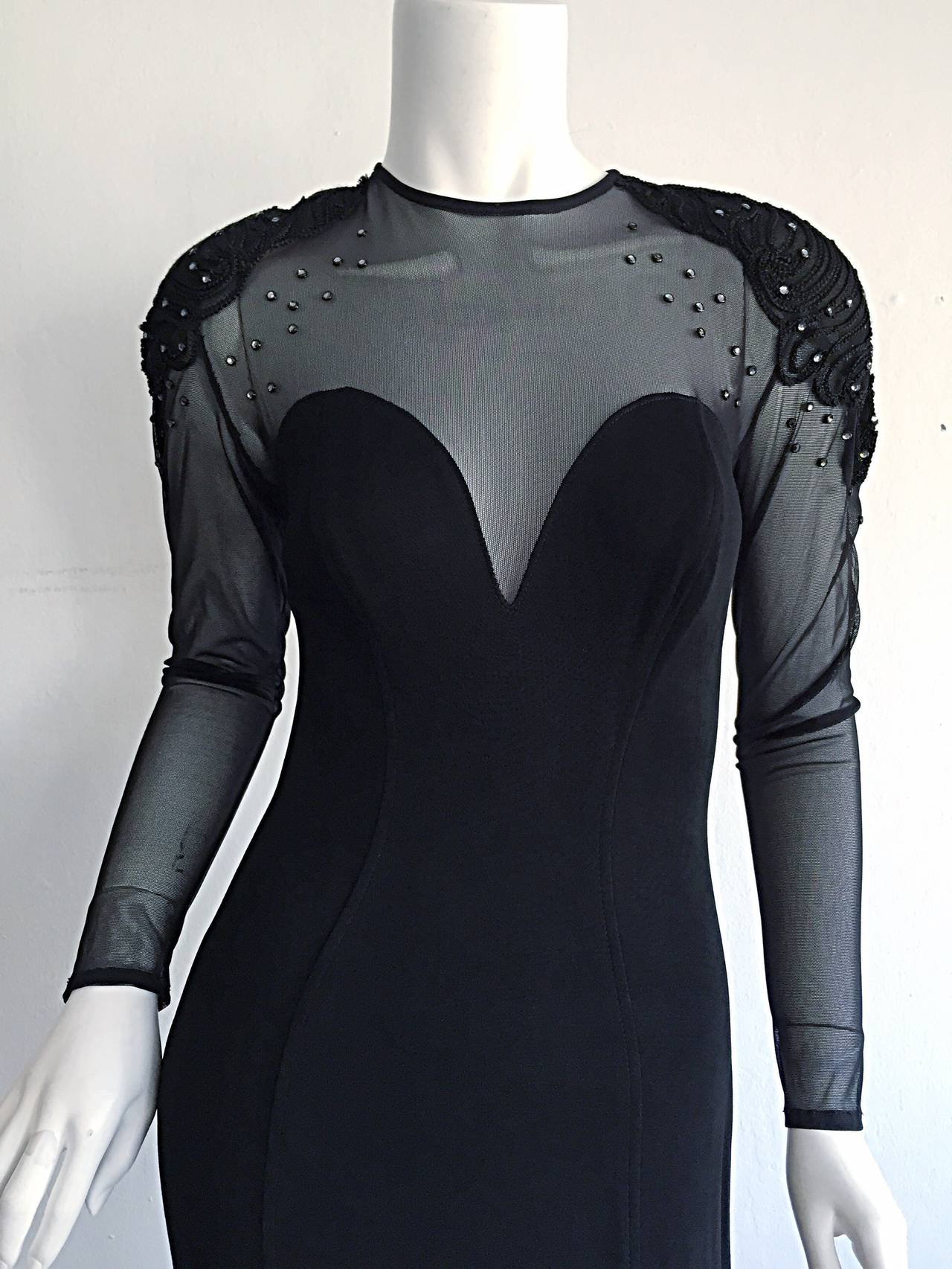 Sexy Vintage 1990s Black Cut - Out Bodycon Dress w/ Rhinestones In Excellent Condition For Sale In San Francisco, CA