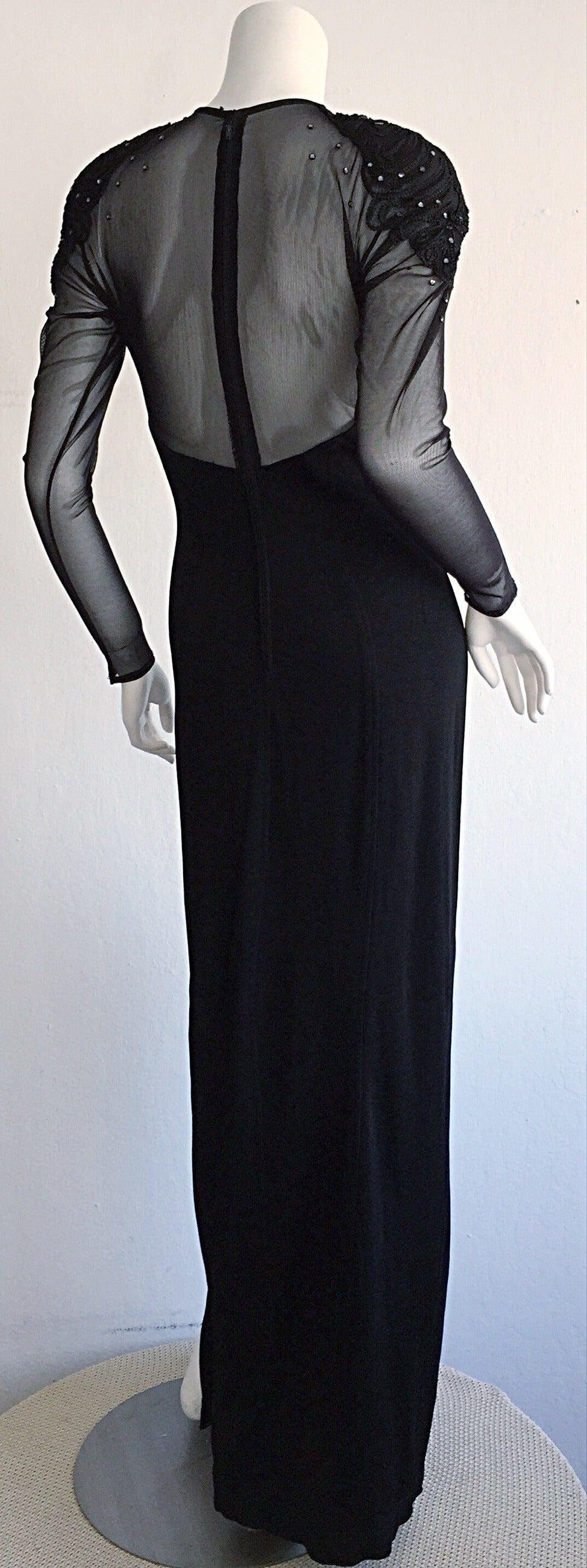 Sexy Vintage 1990s Black Cut - Out Bodycon Dress w/ Rhinestones 4