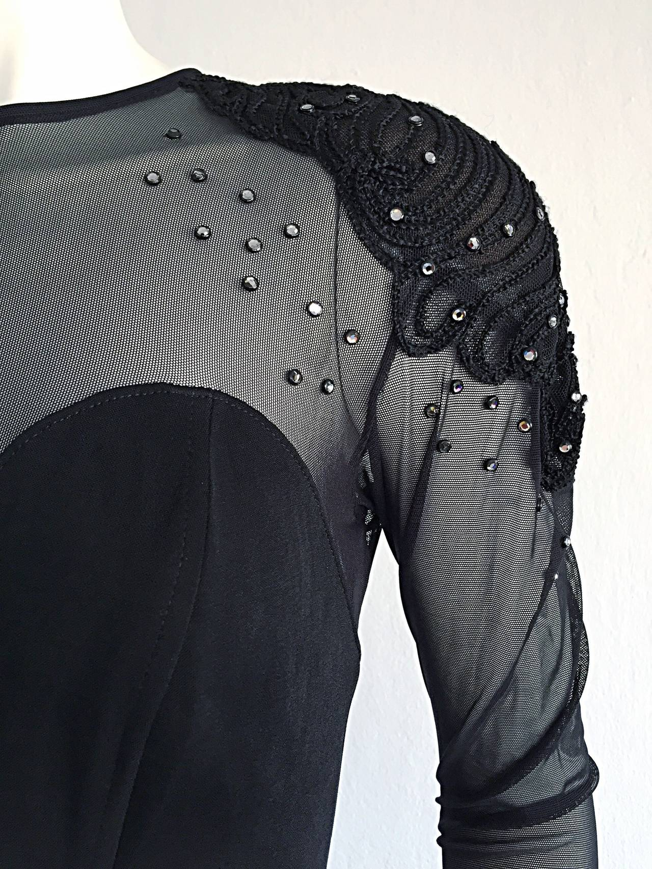 Sexy Vintage 1990s Black Cut - Out Bodycon Dress w/ Rhinestones 5