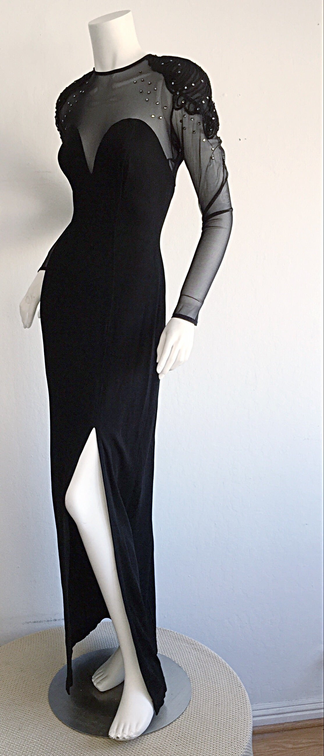Sexy Vintage 1990s Black Cut - Out Bodycon Dress w/ Rhinestones For Sale 2