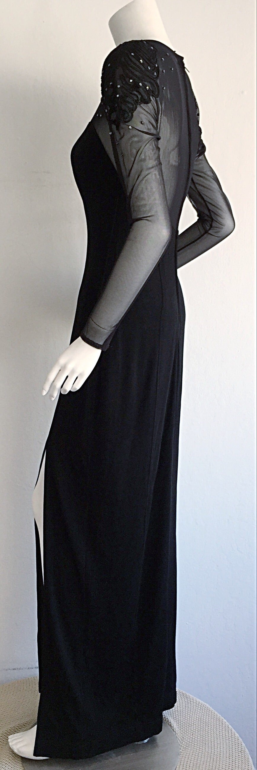 Sexy Vintage 1990s Black Cut - Out Bodycon Dress w/ Rhinestones For Sale 3