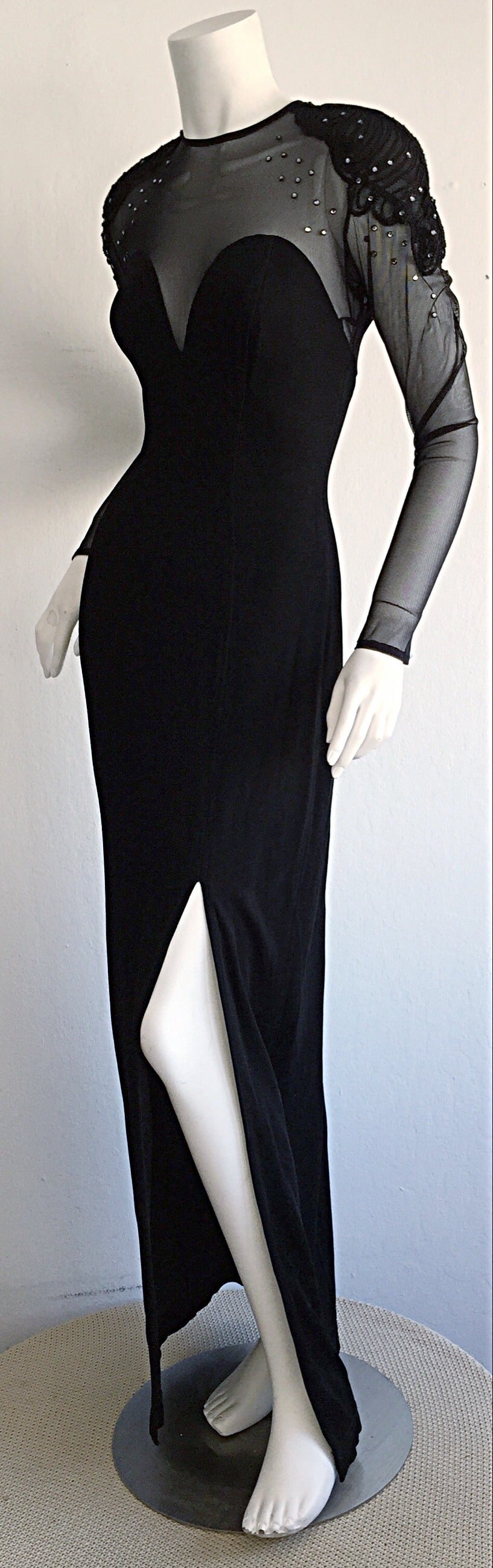 Sexy Vintage 1990s Black Cut - Out Bodycon Dress w/ Rhinestones For Sale 4