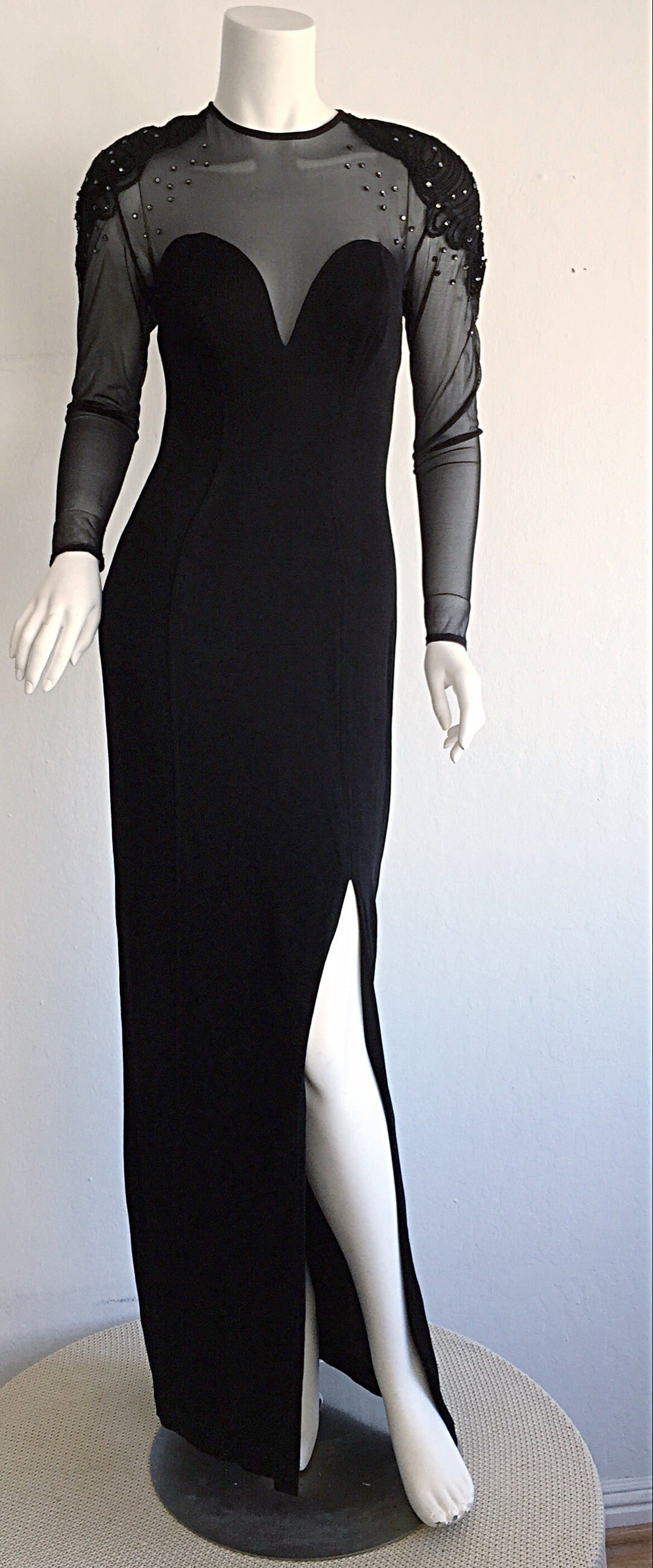 Sexy Vintage 1990s Black Cut - Out Bodycon Dress w/ Rhinestones For Sale 5