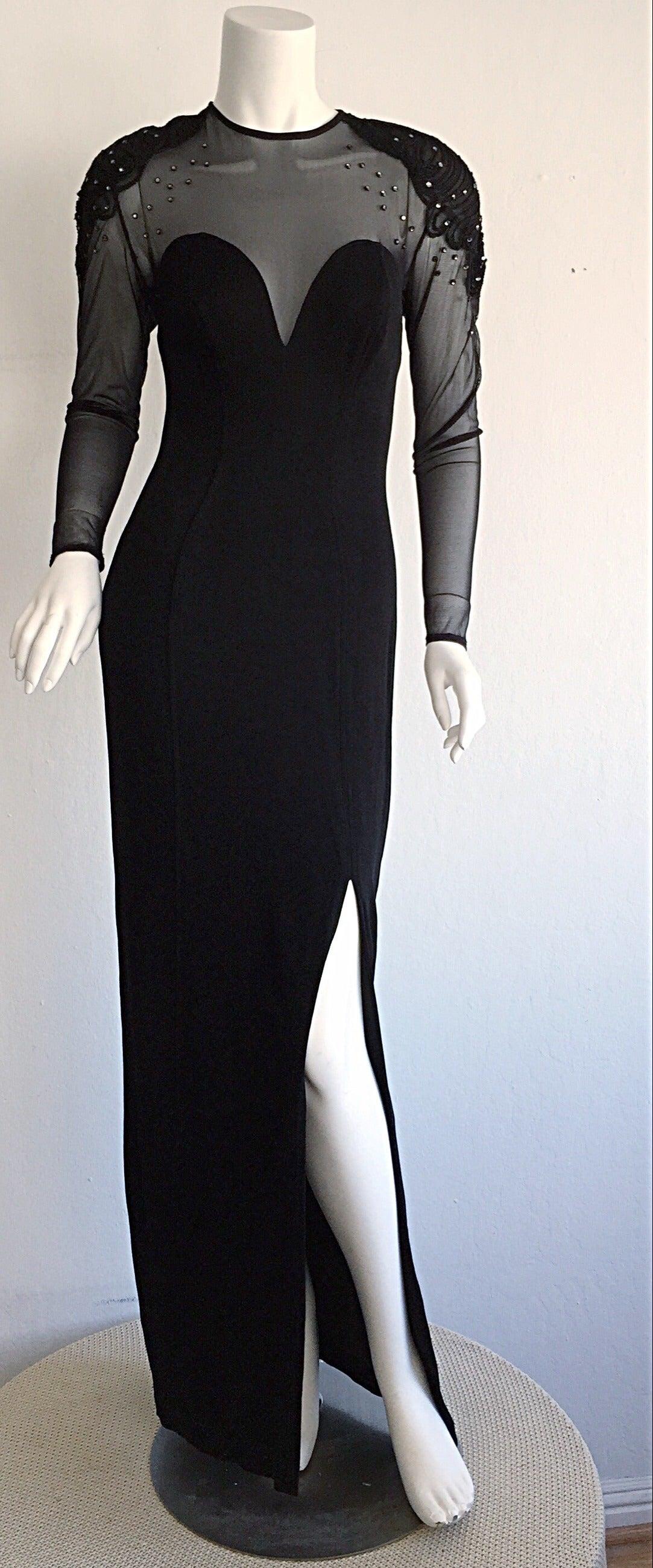 Sexy Vintage 1990s Black Cut - Out Bodycon Dress w/ Rhinestones 9