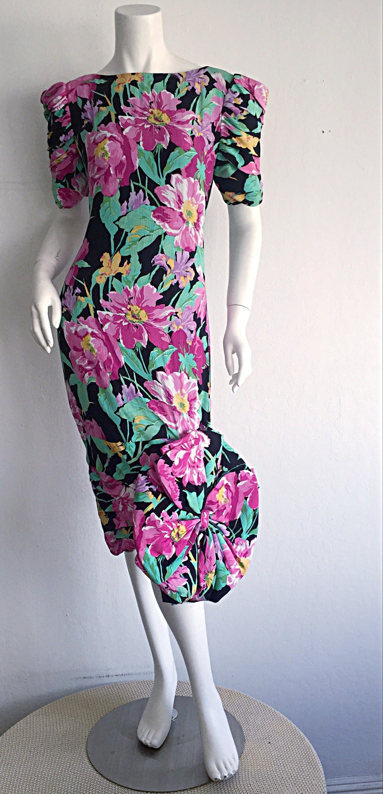 Wonderful Vintage Victor Costa Avant Garde ' Origami ' Silk Floral Dress 2