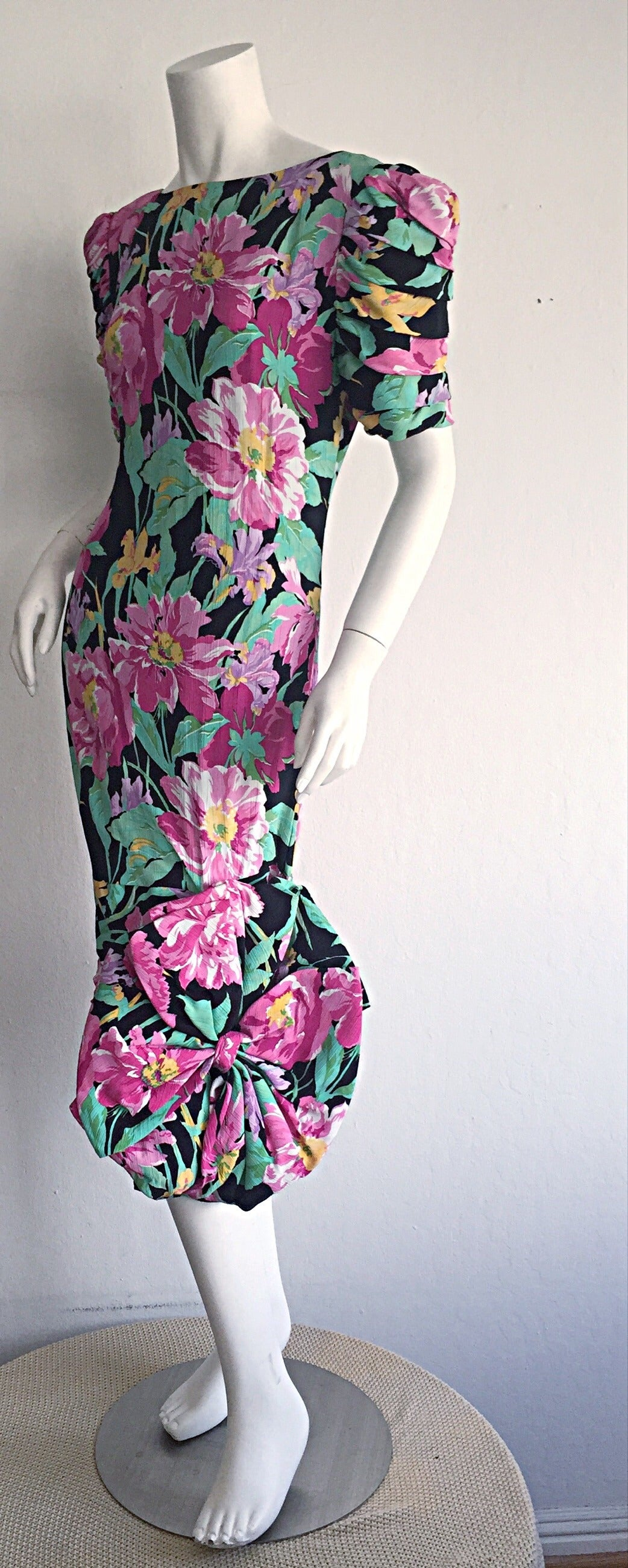 Wonderful Vintage Victor Costa Avant Garde ' Origami ' Silk Floral Dress 4