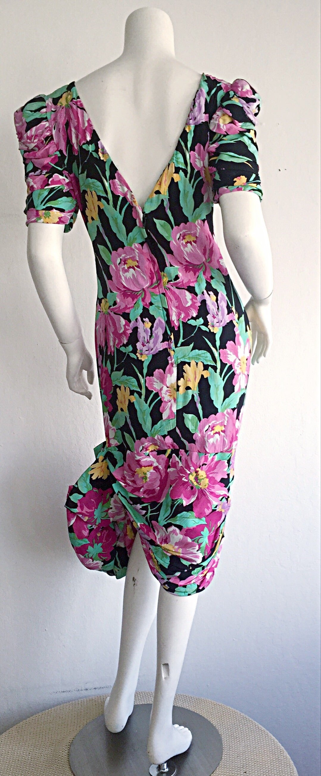 Wonderful Vintage Victor Costa Avant Garde ' Origami ' Silk Floral Dress 5