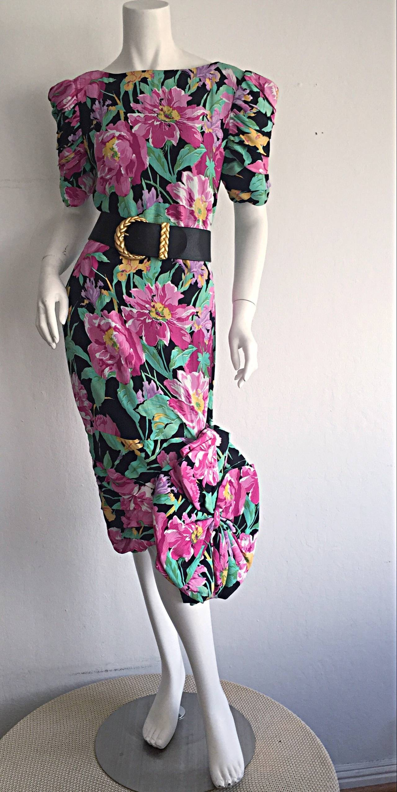 Wonderful Vintage Victor Costa Avant Garde ' Origami ' Silk Floral Dress 6