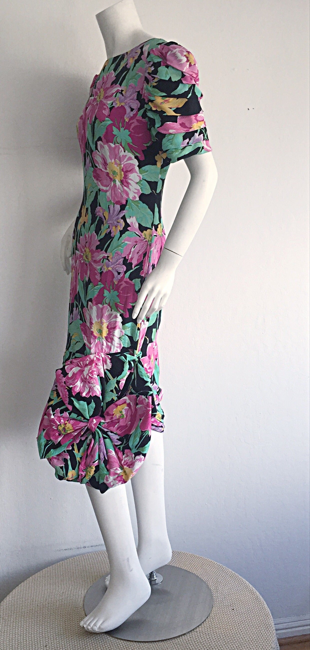 Wonderful Vintage Victor Costa Avant Garde ' Origami ' Silk Floral Dress 8