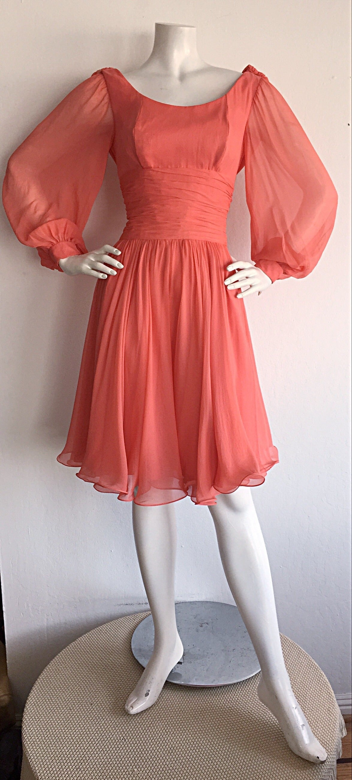 Beautiful 1970s Mignon Pink Coral Grecian Chiffon Dress 2