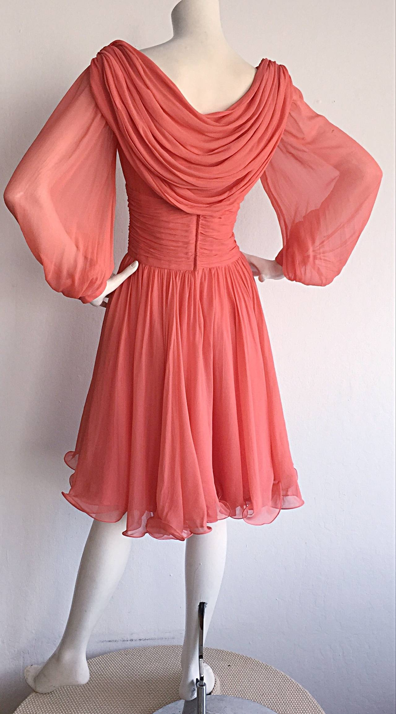 Beautiful 1970s Mignon Pink Coral Grecian Chiffon Dress 3