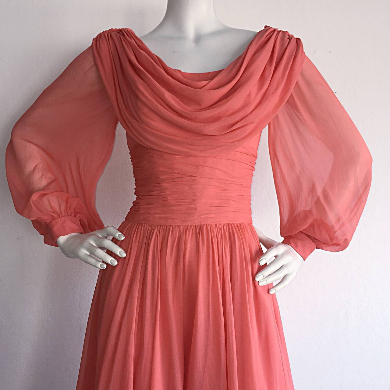Beautiful 1970s Mignon Pink Coral Grecian Chiffon Dress 4