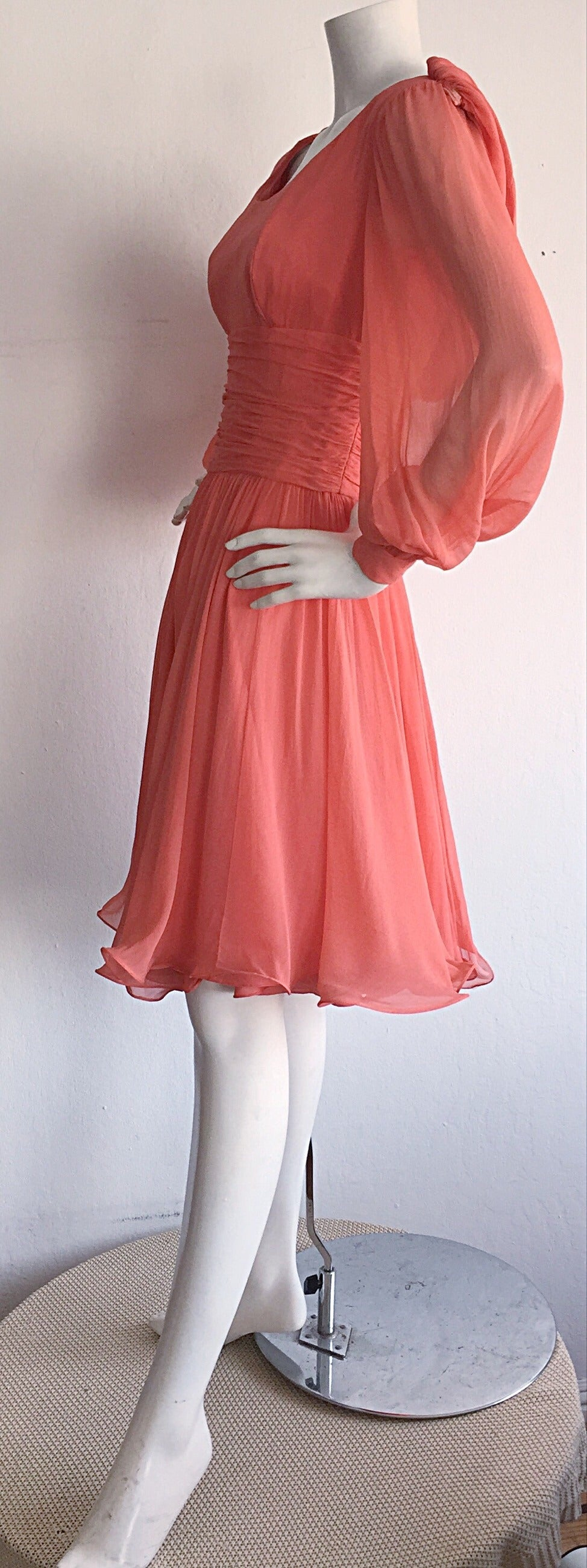 Beautiful 1970s Mignon Pink Coral Grecian Chiffon Dress 5