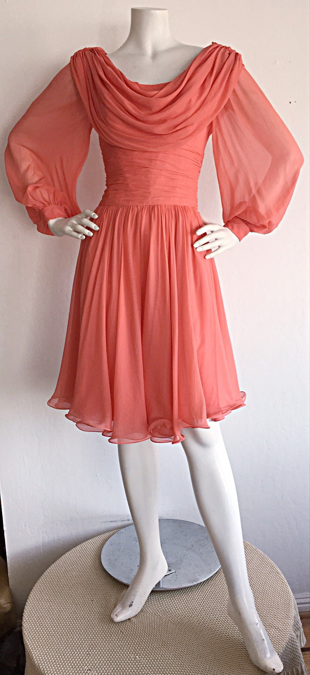 Beautiful 1970s Mignon Pink Coral Grecian Chiffon Dress 6