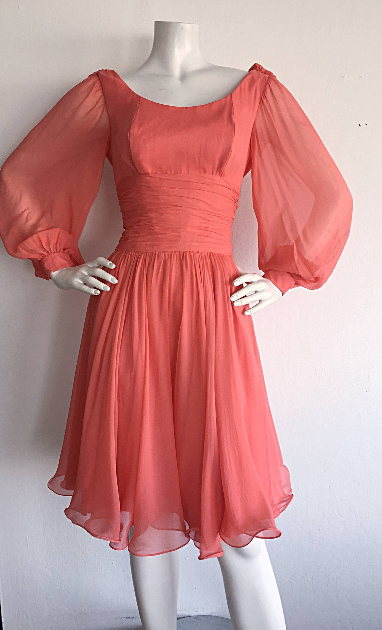 Beautiful 1970s Mignon Pink Coral Grecian Chiffon Dress 7