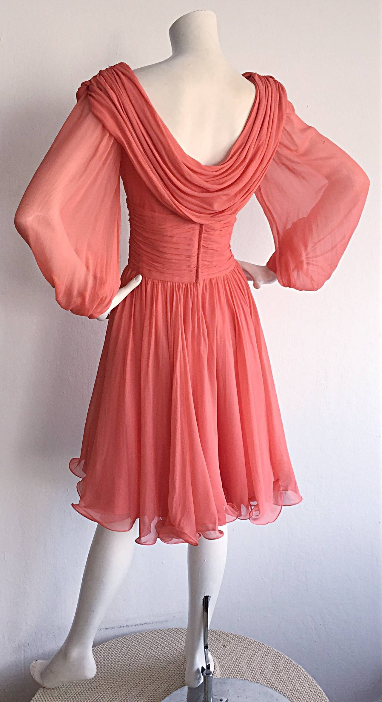 Beautiful 1970s Mignon Pink Coral Grecian Chiffon Dress 8