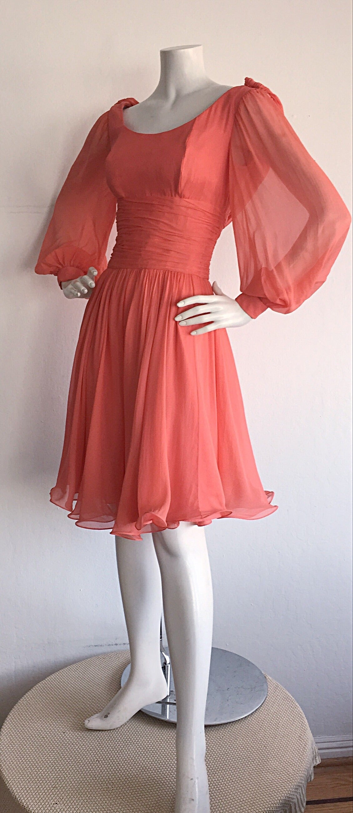 Beautiful 1970s Mignon Pink Coral Grecian Chiffon Dress 9