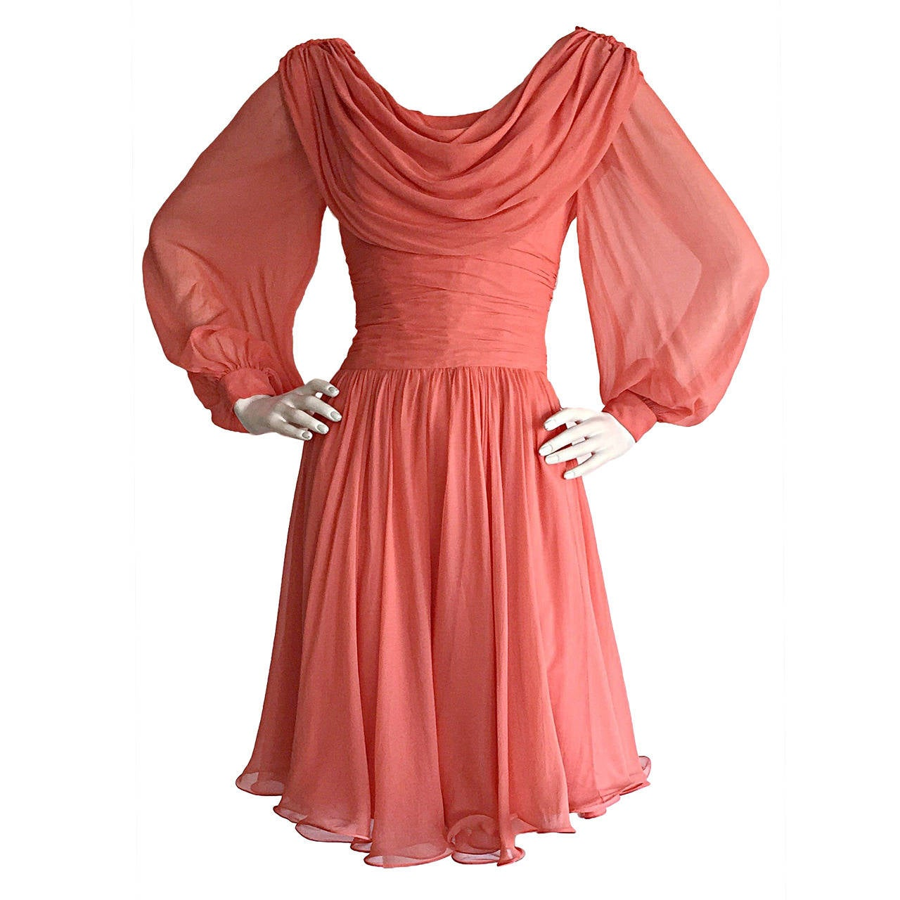 Beautiful 1970s Mignon Pink Coral Grecian Chiffon Dress 1