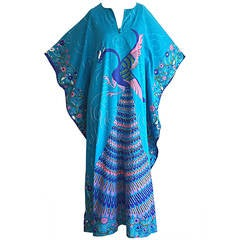Amazing Vintage Neiman Marcus Peacock Asian Themed Colorful Cotton Caftan