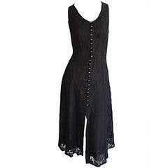 Paco Rabbane 1990s Black Lace Babydoll Dressw/ Rhinestone Buttons