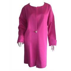 Unglaubliche Vintage Jean Muir Hot Pink Fuchsia Seide Swing / Oper Jacke