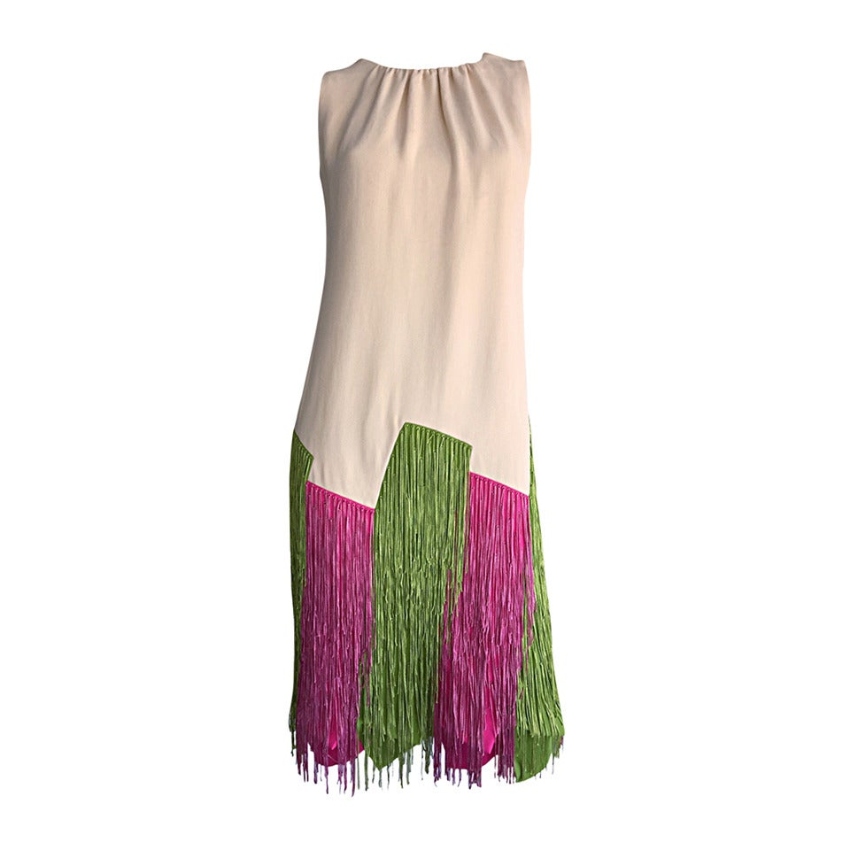 Ultra Rare Jean Louis 1960s 60s Fringe Car Wash Dress For Sale