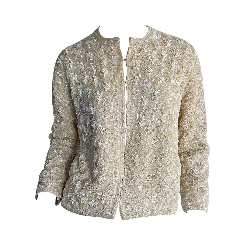 Exquisite 1960s All Over Sequin Iridescent Ivory Wool Vintage ...