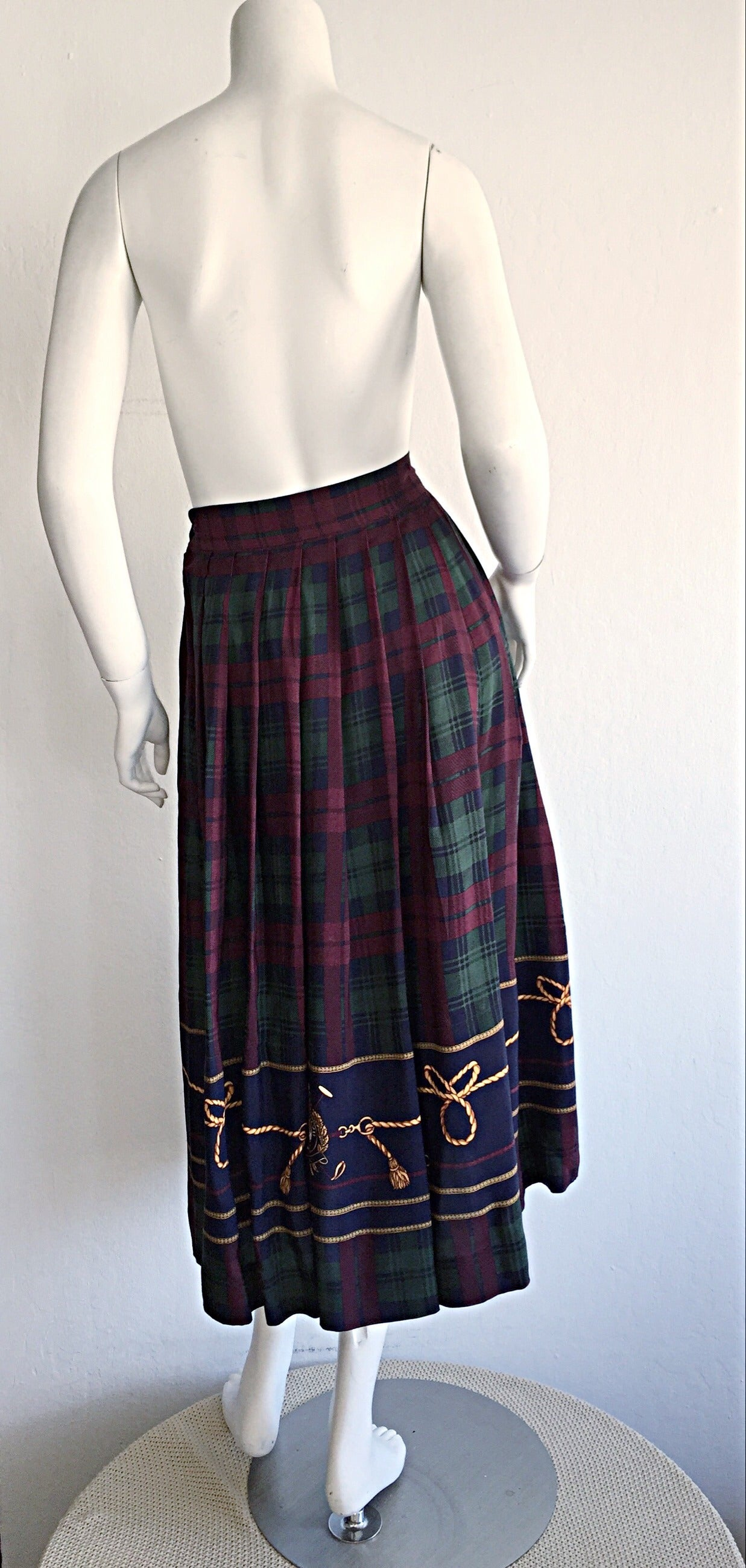 bedae2024 Vintage Ralph Lauren ' Blue Label ' Tartan Plaid Equestrian Nautical Polo  Skirt In Excellent Condition