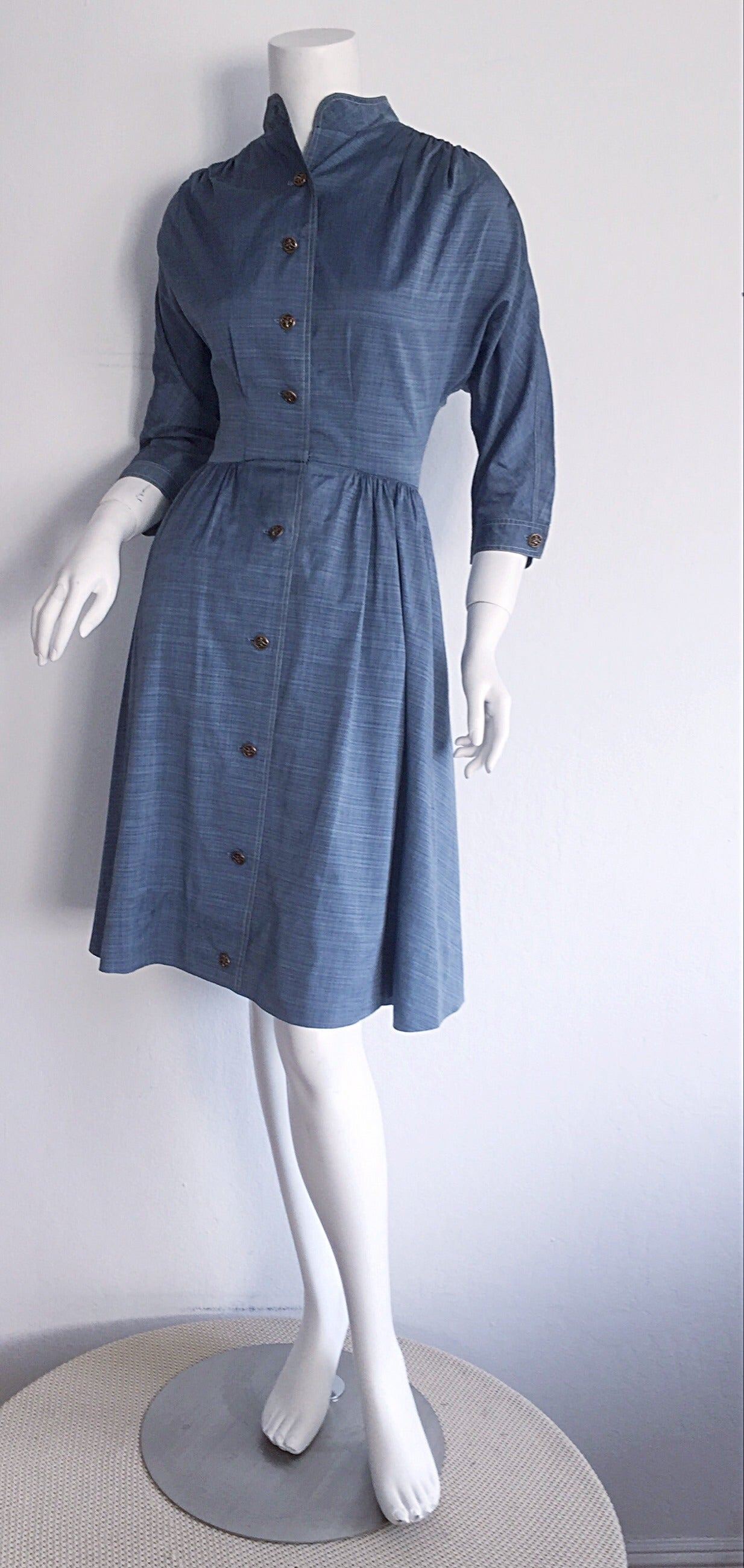 1940s Vintage B. Altman & Co. Denim Chambray Dress w/ Horse Buttons 2