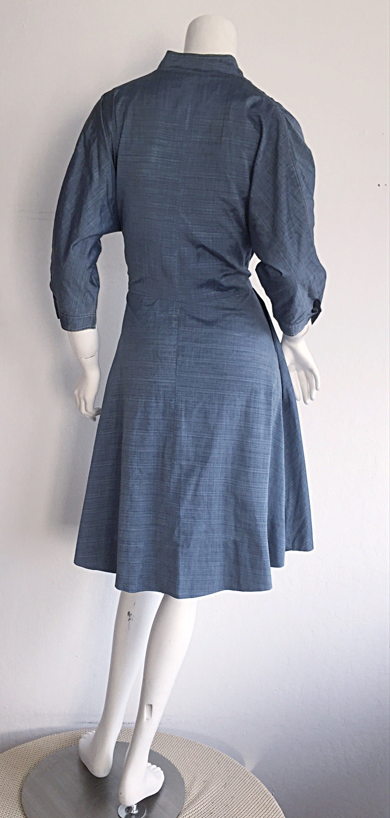 1940s Vintage B. Altman & Co. Denim Chambray Dress w/ Horse Buttons 3