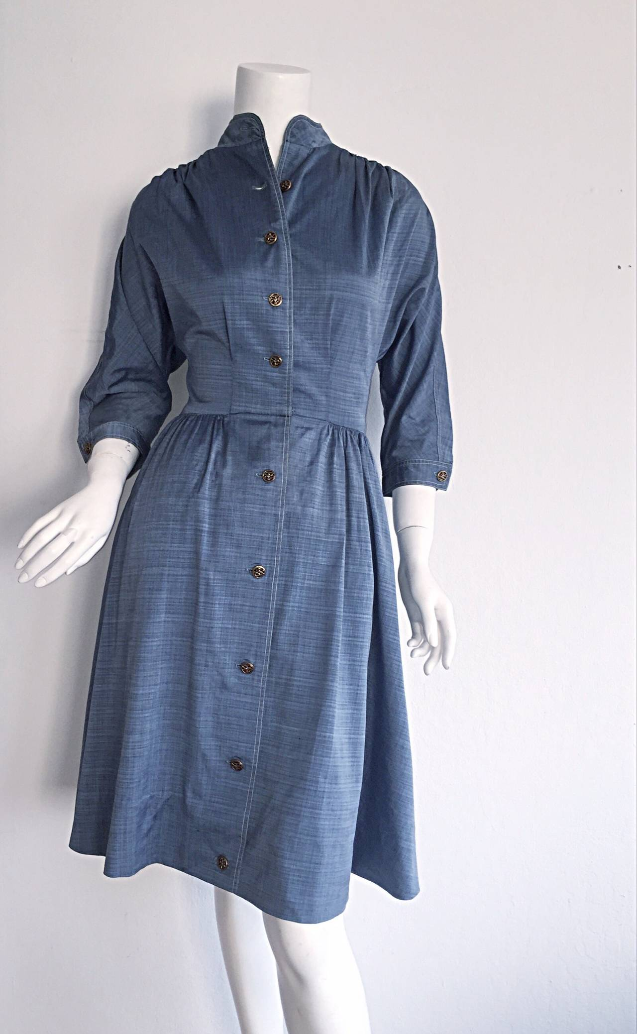 1940s Vintage B. Altman & Co. Denim Chambray Dress w/ Horse Buttons 4