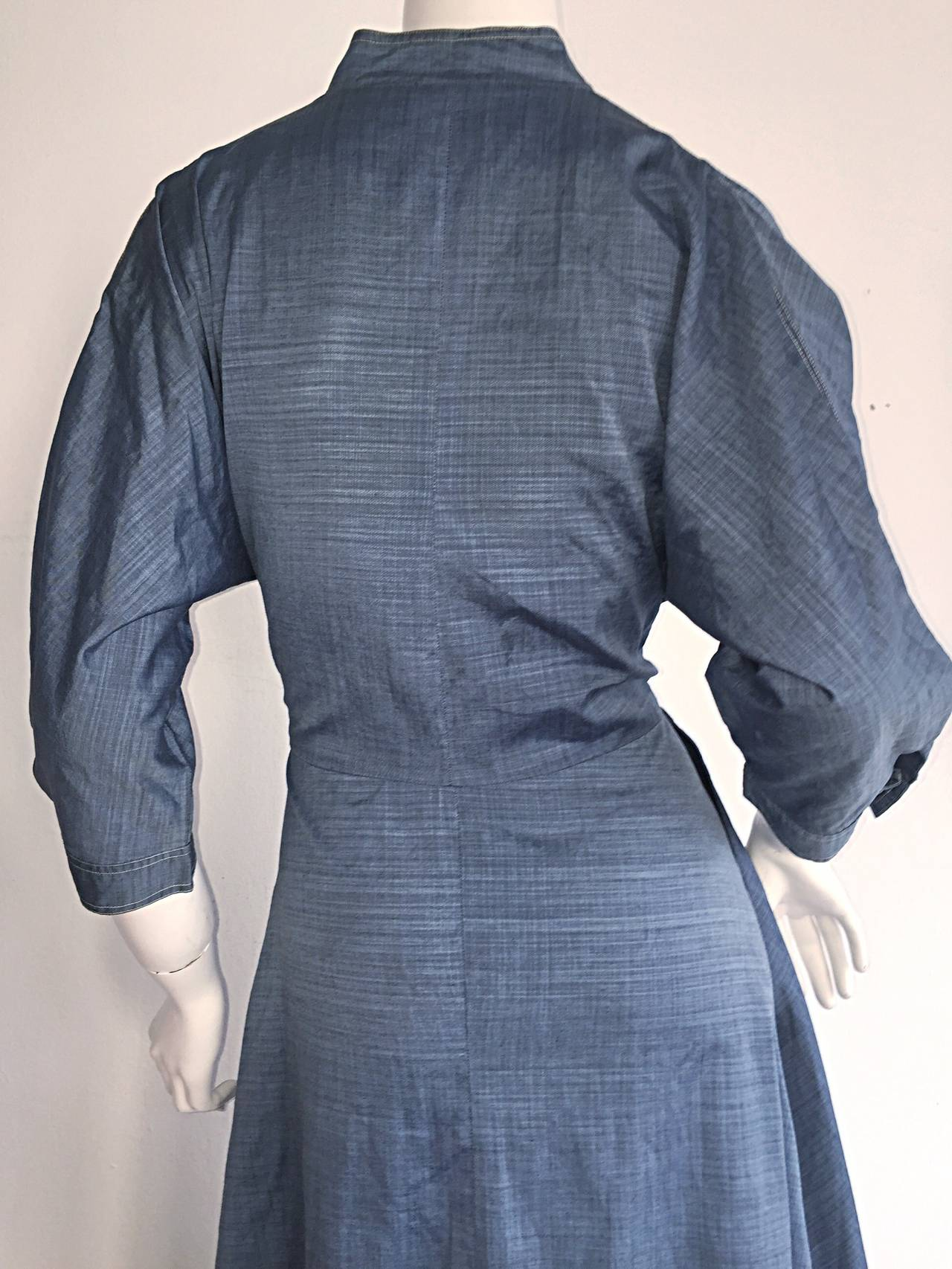 1940s Vintage B. Altman & Co. Denim Chambray Dress w/ Horse Buttons 5