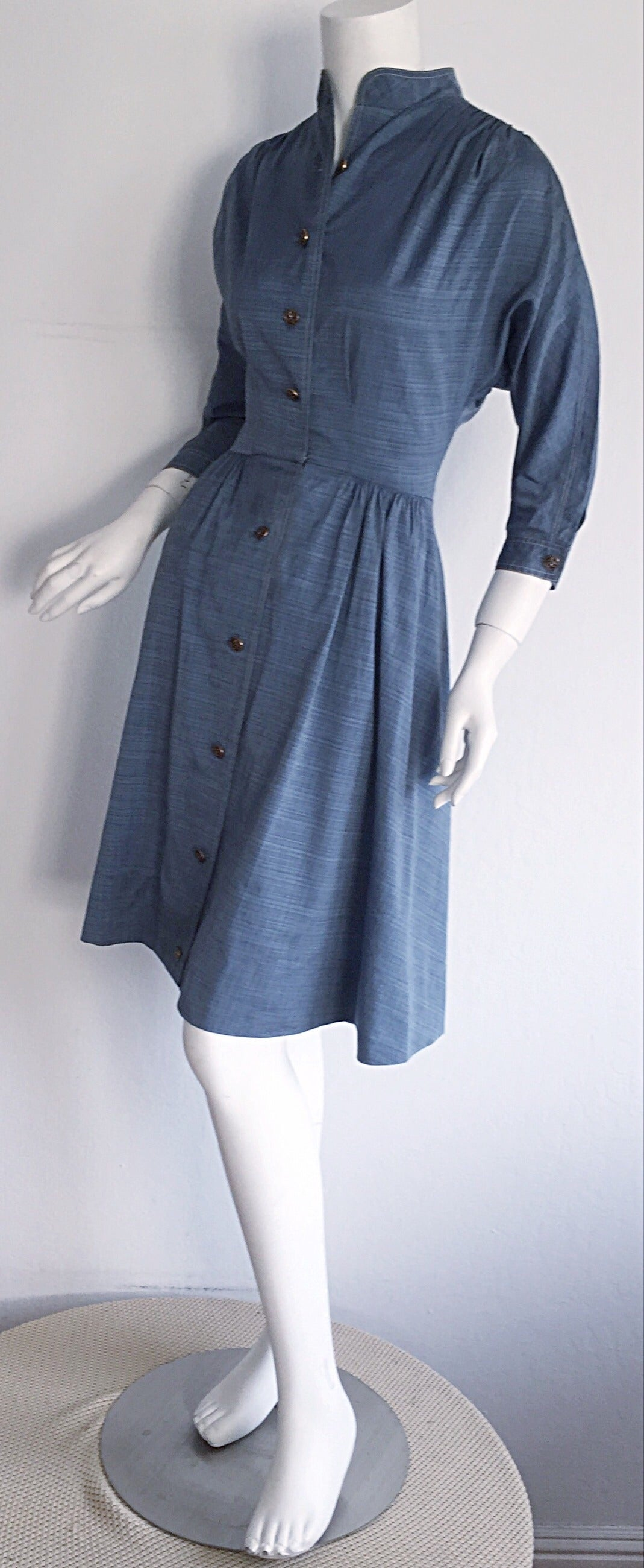 1940s Vintage B. Altman & Co. Denim Chambray Dress w/ Horse Buttons 6