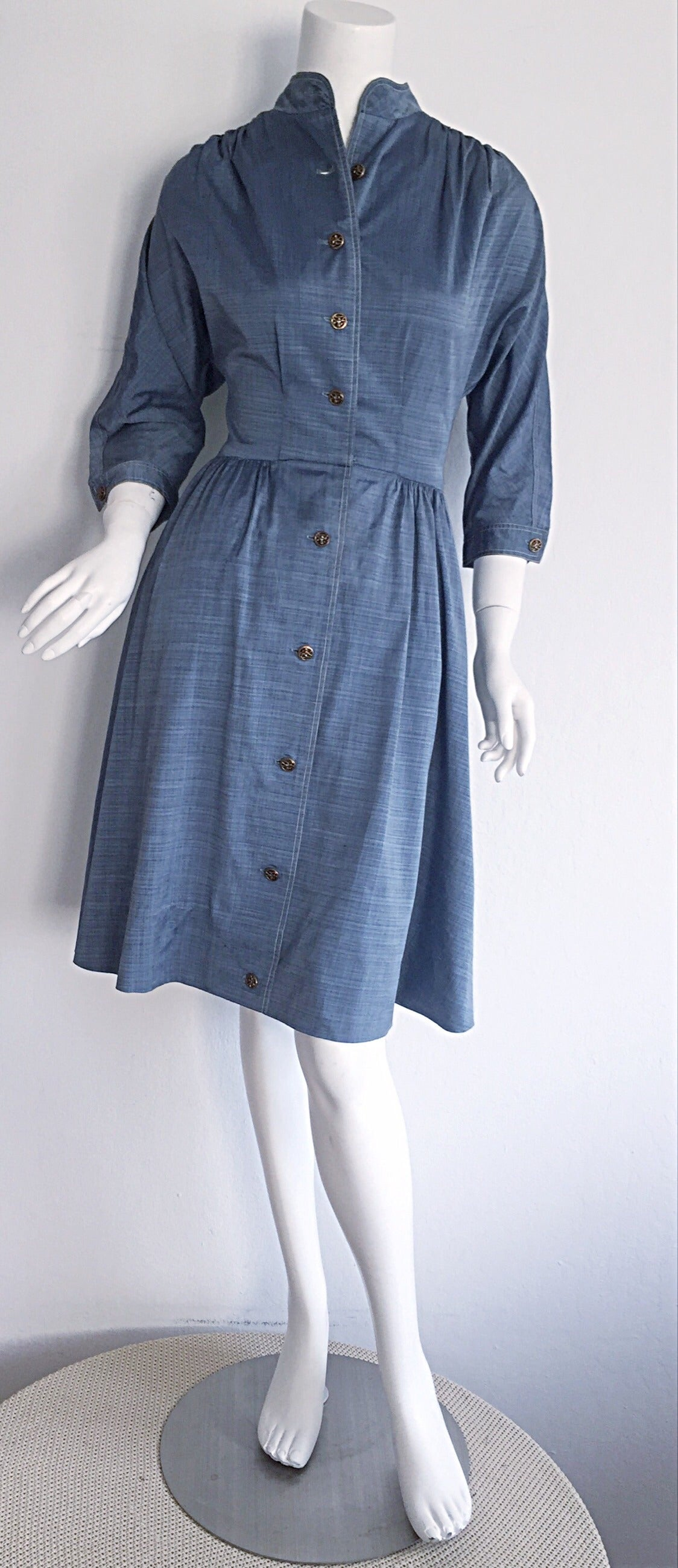 1940s Vintage B. Altman & Co. Denim Chambray Dress w/ Horse Buttons 7