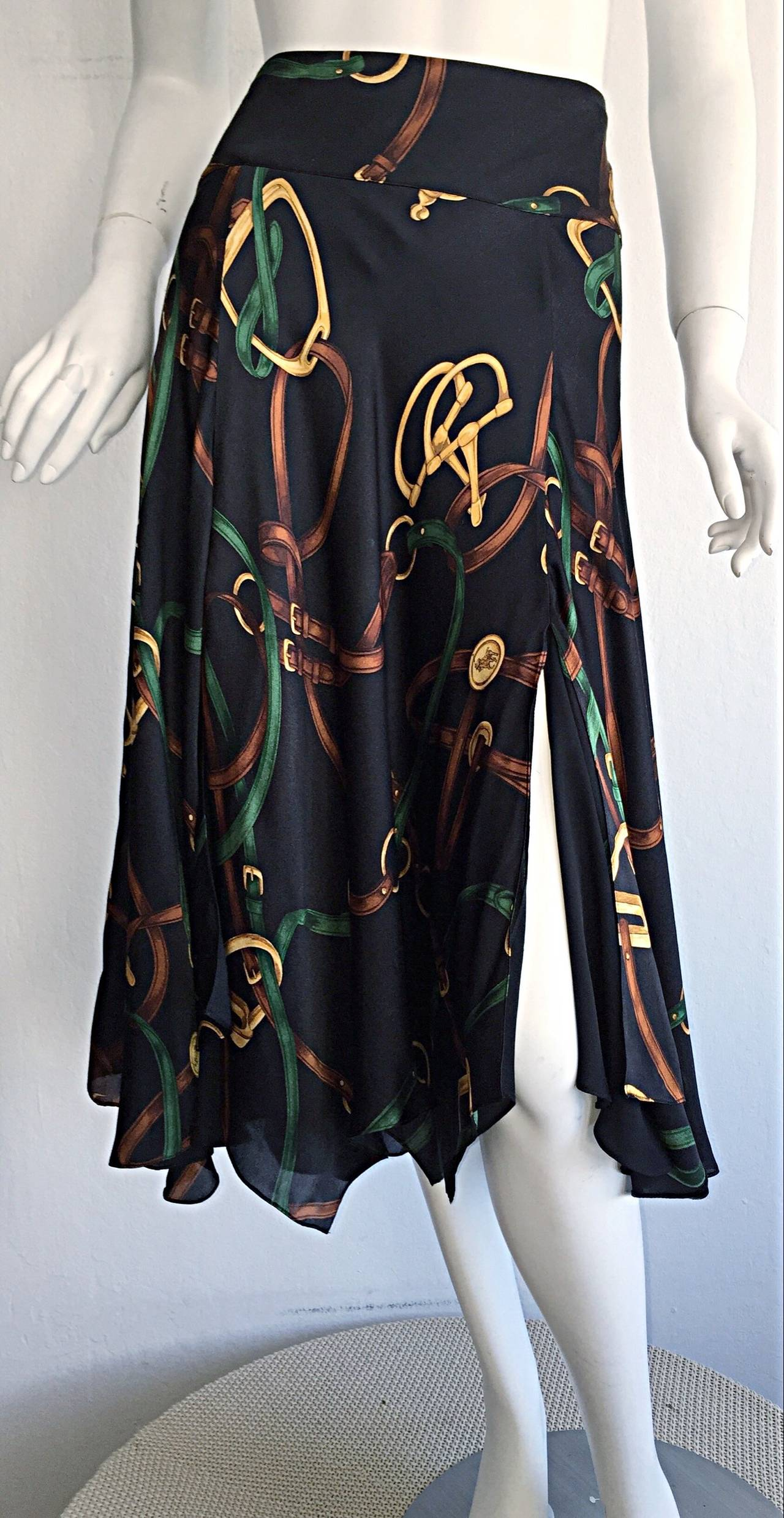 1990s Vintage Ralph Lauren Blue Label Silk Equestrian Horsebit Skirt 3