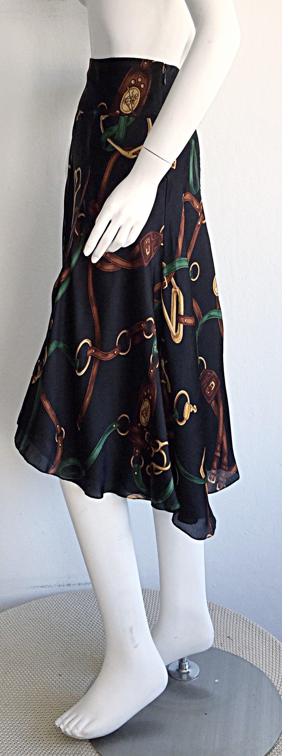 1990s Vintage Ralph Lauren Blue Label Silk Equestrian Horsebit Skirt 4