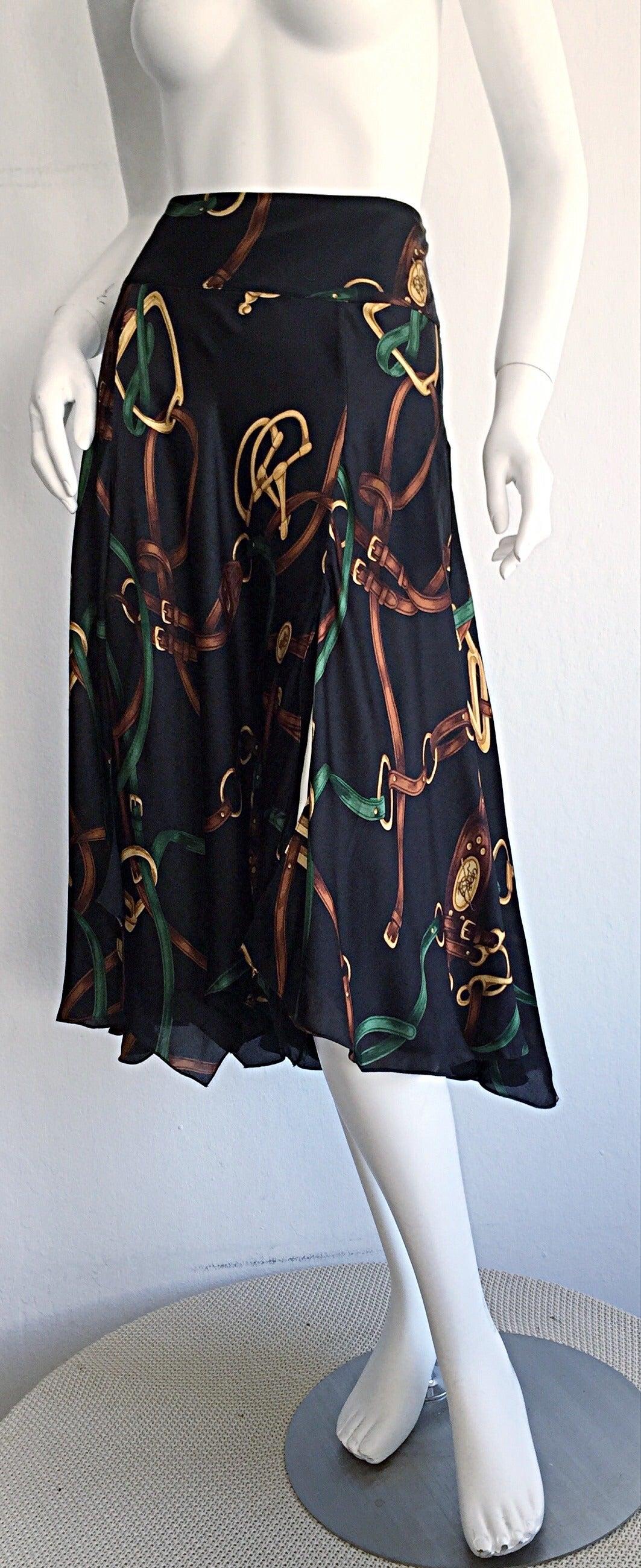 1990s Vintage Ralph Lauren Blue Label Silk Equestrian Horsebit Skirt 5