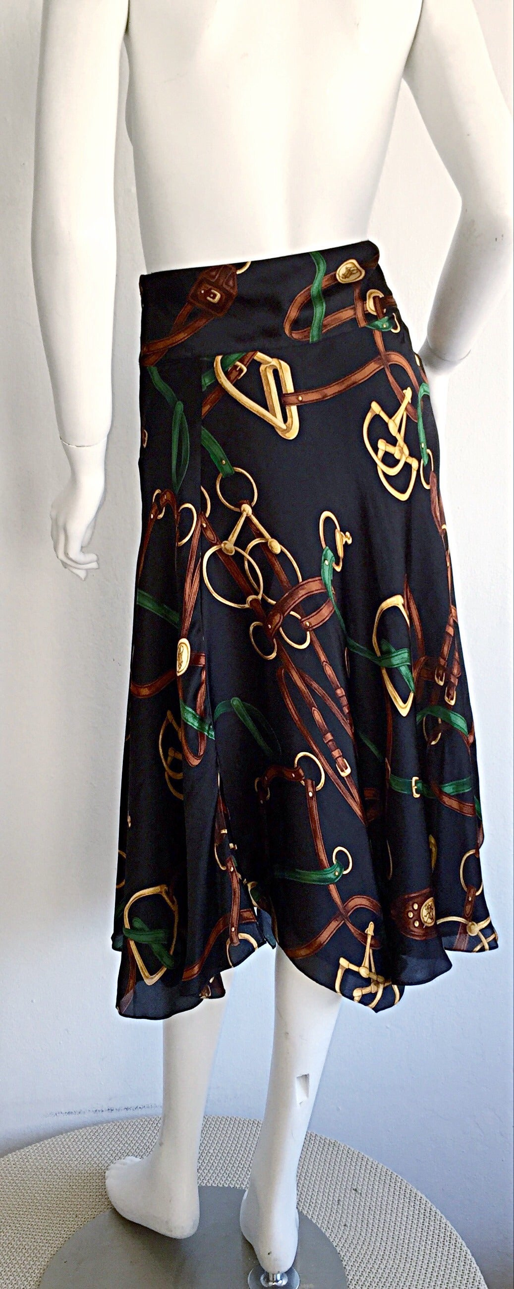 1990s Vintage Ralph Lauren Blue Label Silk Equestrian Horsebit Skirt 7
