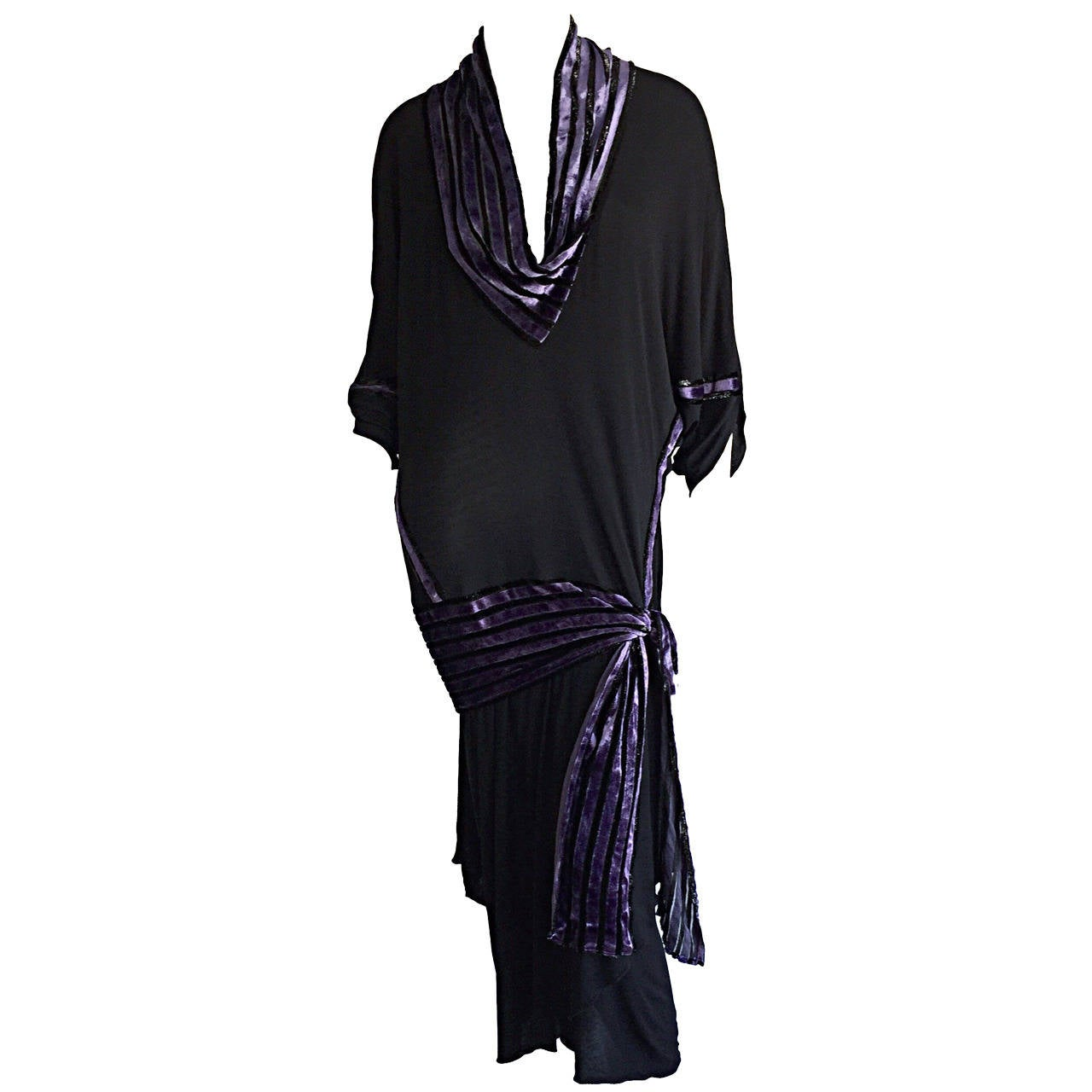 """Iconic Vintage Janice Wainwright Black Flapper Style """" Roaring 20s"""" Jersey Dress For Sale"""