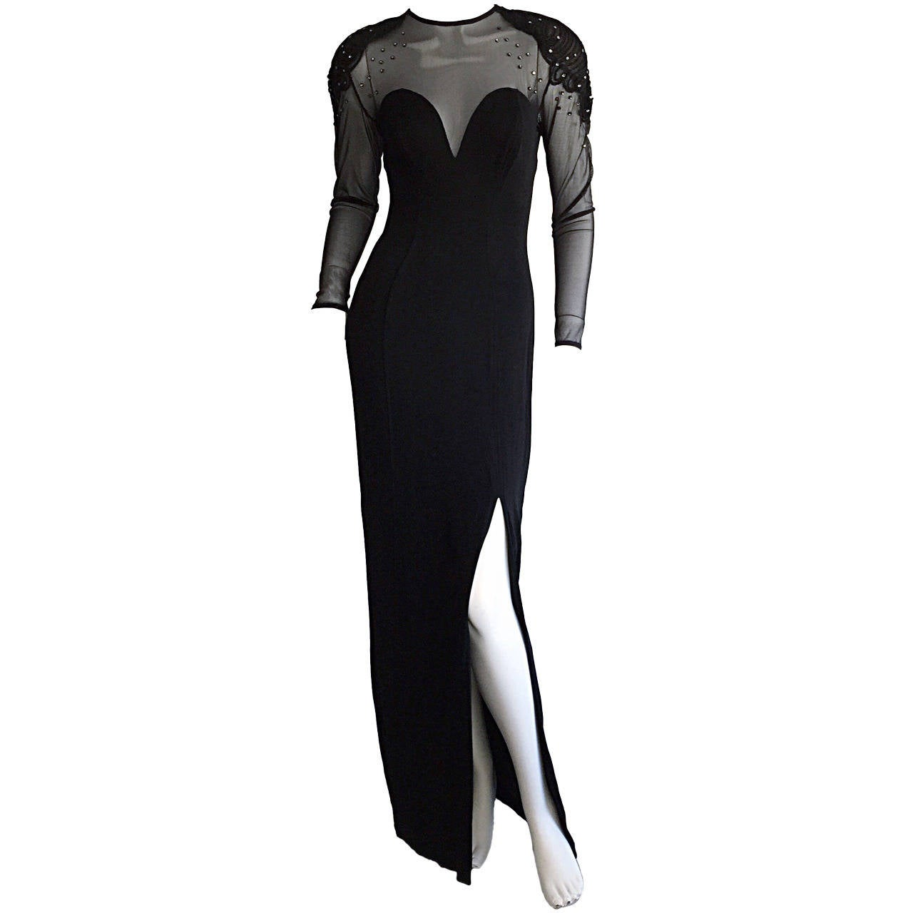 Sexy Vintage 1990s Black Cut - Out Bodycon Dress w/ Rhinestones For Sale