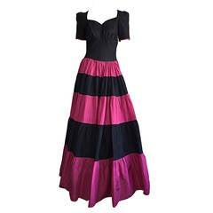 Stunning 1950s Hattie Carnegie Pink + Black Silk Taffeta Vintage Sweetheart Gown