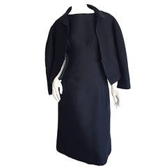 1960s Teal Traina Perfect Black Silk A-Line Dress + Pillbox Jacket LBD